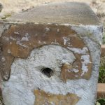 Old epoxy patterns help piece stone together.